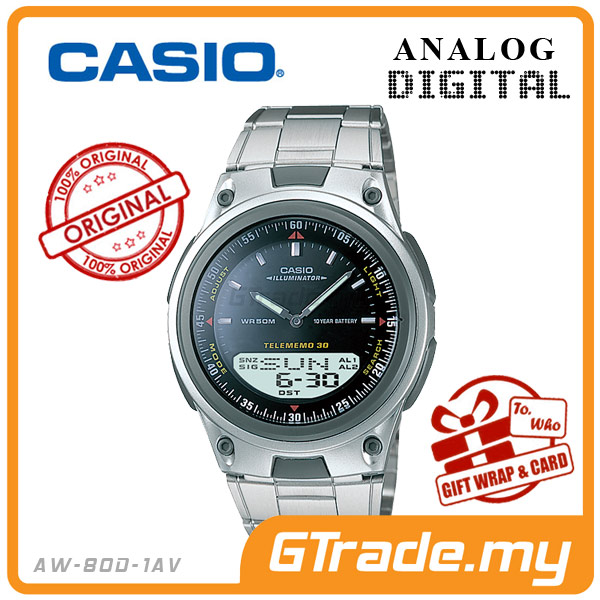 CASIO STANDARD AW-80D-1AV Analog Digital Watch | Wolrd Time 10Yrs Batt