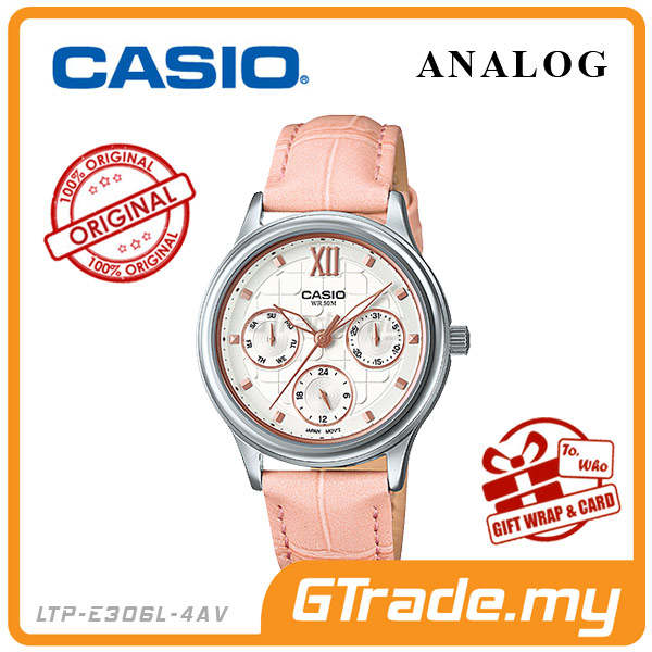 CASIO STANDARD LTP-E306L-4AV Analog Ladies Watch | Pink Leather Design