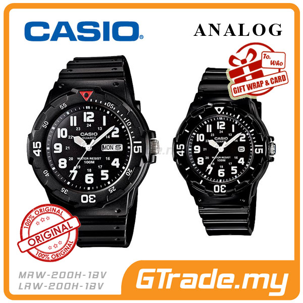 CASIO STANDARD MRW-200H-1BV & LRW-200H-1BV Analog Couple Watch