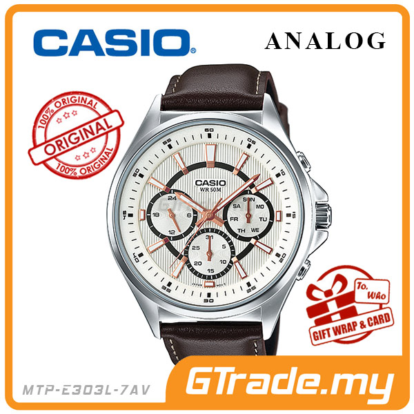CASIO STANDARD MTP-E303L-7AV Analog Mens Watch Day Date 24Hrs Display