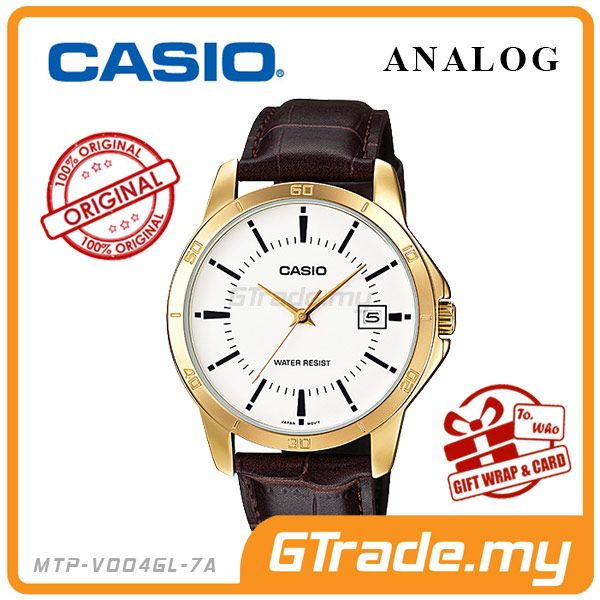 CASIO STANDARD MTP-V004GL-7AV Analog Mens Watch | Gold Leather