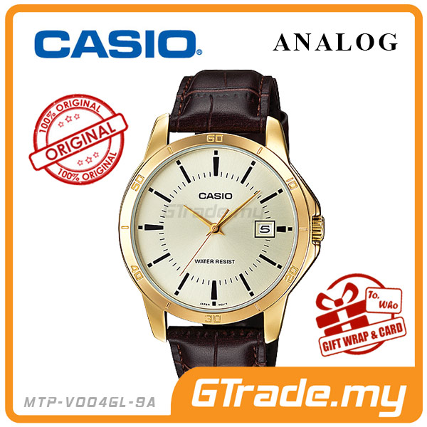 CASIO STANDARD MTP-V004GL-9AV Analog Mens Watch | Gold Leather