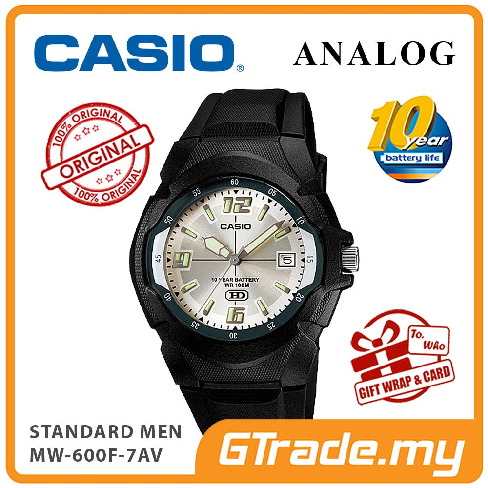 CASIO STANDARD MW-600F-7AV Analog Mens Watch | Resin 10 Yrs Batt.