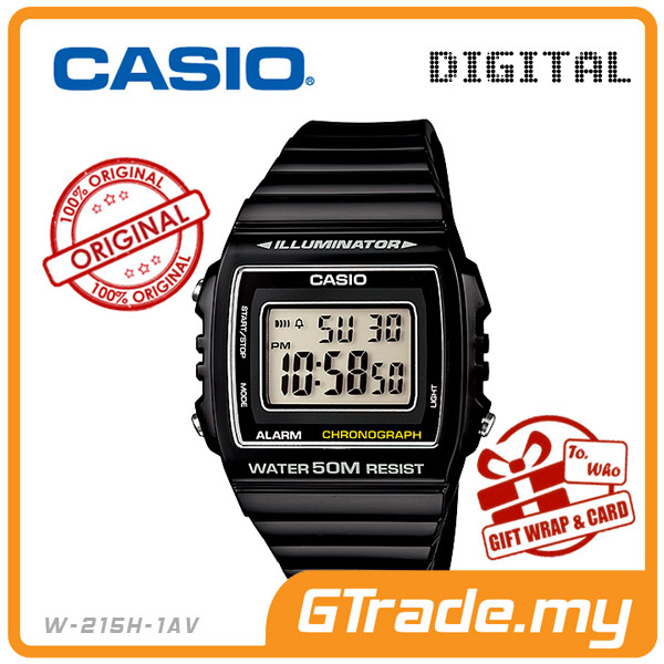 CASIO STANDARD W-215H-1AV Digital Watch | Alarm Water Resist 50M
