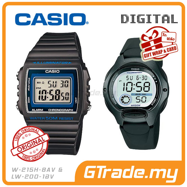 CASIO STANDARD W-215H-8AV & LW-200-1BV Digital Couple Watch