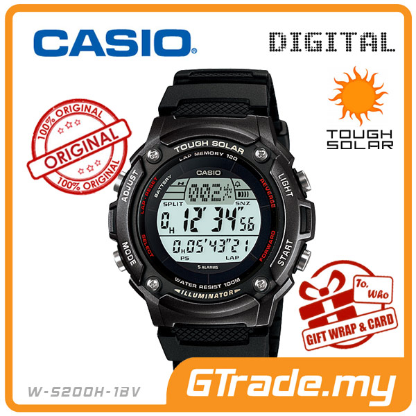 CASIO STANDARD W-S200H-1BV Digital Watch | Sporty Tough Solar