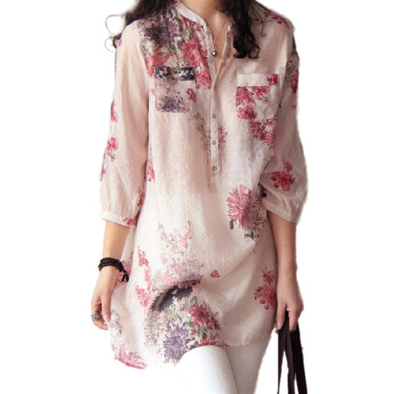 Casual Floral Print Long Tops Shirts Plus Size M-5XL