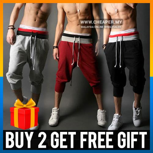 Casual Mens 3/4 Knee Jogger Sport Shorts Baggy Gym Harem Pants Rope Tr
