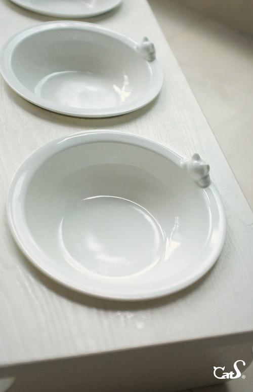 Cat Dining Table - White Solid Wood w/ 2 Ceramic Bowls - FREE SHIPPING