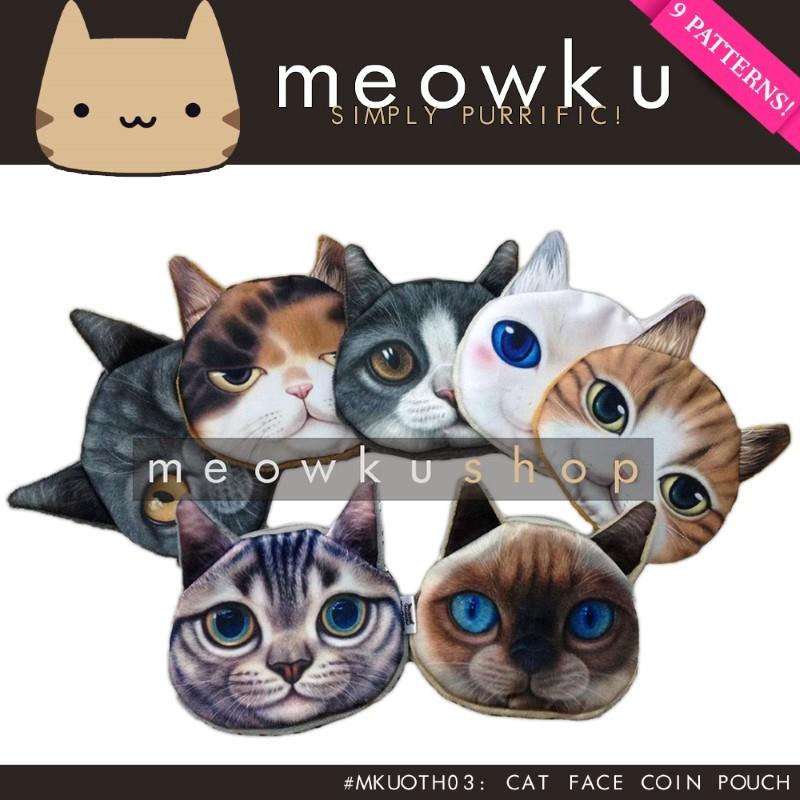 Cat Face Coin Pouch (Cute Wallet Purse Bag Gift Woman Girl Kucing)