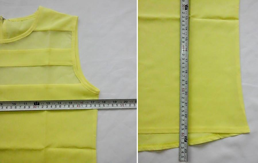 **CELLY**    Sexy Transparent Yellow Sleeveless Blouse