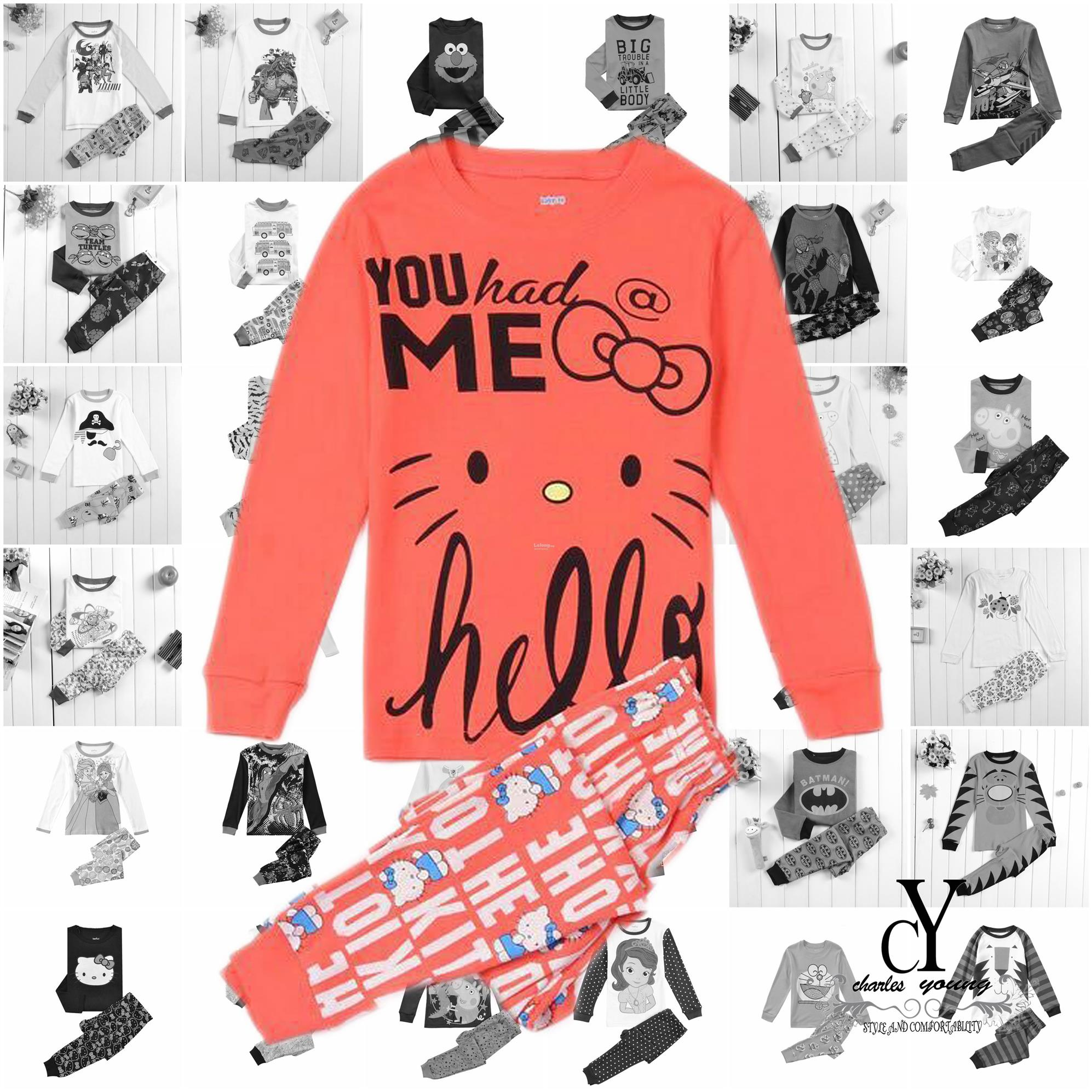 CHILDREN,PYJAMAS,PASANG,TIDUR,CARTOON,DISNEY,COTTON,HELLO,KITTY,CAT