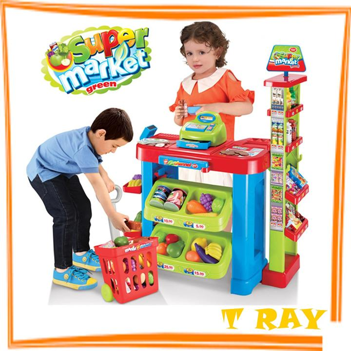 Children Simulation Supermarket Store Shelves With Shopping Cart