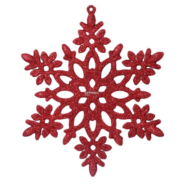 CHRISTMAS DECORATING ORNAMENTS GLITTER SNOWFLAKE HANGING RED