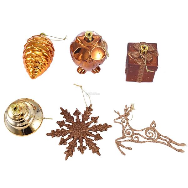 CHRISTMAS ORNAMENTS 24PCS 6 TYPES BRONZE COLOR HANGING CHAMPAGNE GOLD