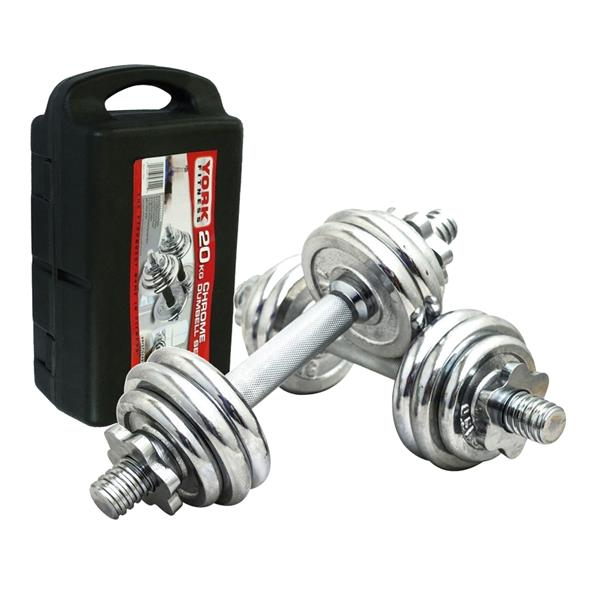 Chrome Dumbell & Barbell Weight Lifting Set 20KG