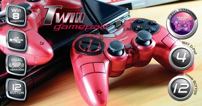 CLIPTEC DOUBLE-XCTION USB DUAL VIBRATION TWIN GAMEPAD (RZG332) RED