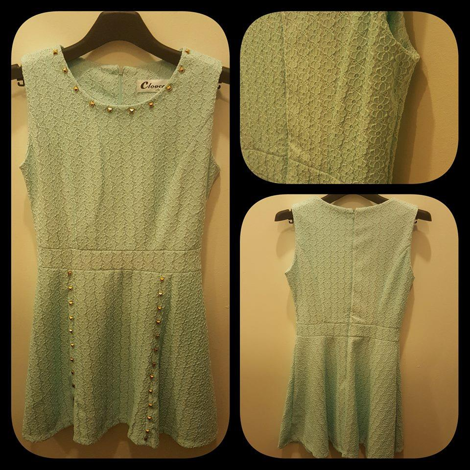 Clover Cotton Knitted Mint Green Dress (61260)