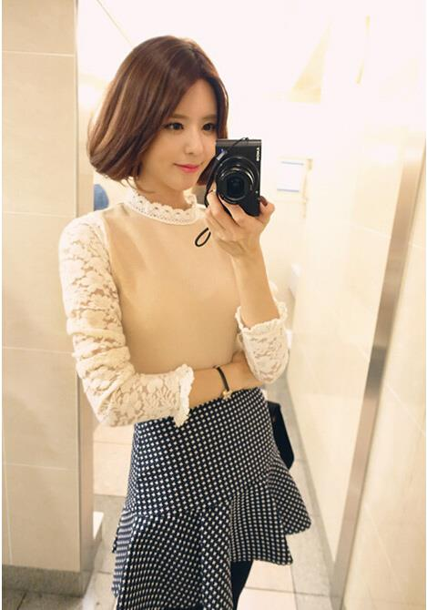 [CM5485] Korean Elegant Woman Casual Sweet Fashion Top Brown