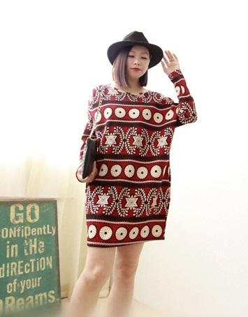 [CM5572R] Fashion Woman Casual Wear Stylish Dress Red