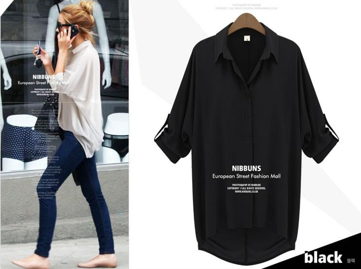 [CM5599BK] Europe Fashion Woman Casual Wear Top Black