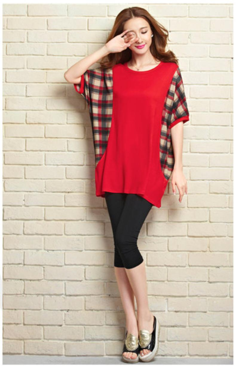 [CM5701R] Korean Elegant Woman Casual Travel Holiday Top Red