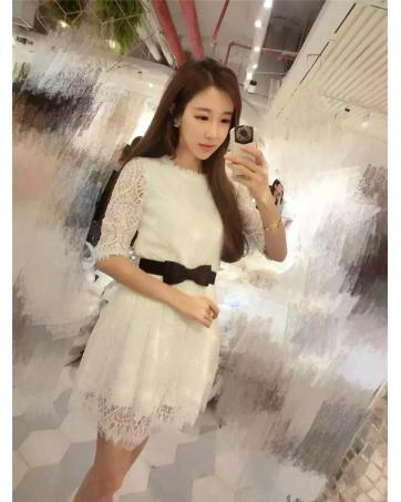 [CM70217W] Fashion Sweet Lace Dress White