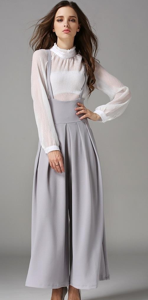 [CM71210G] Women Trendy Jumpsuit Grey
