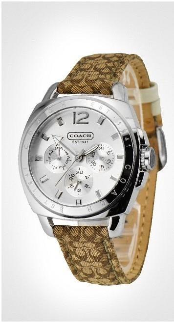 Coach Leather Strap Watch Brown 14501218