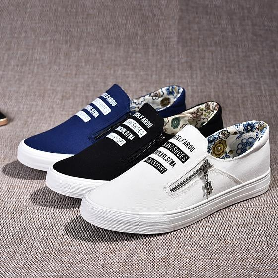 Collage Style Canvas Sneakers Slipon Zipper Details