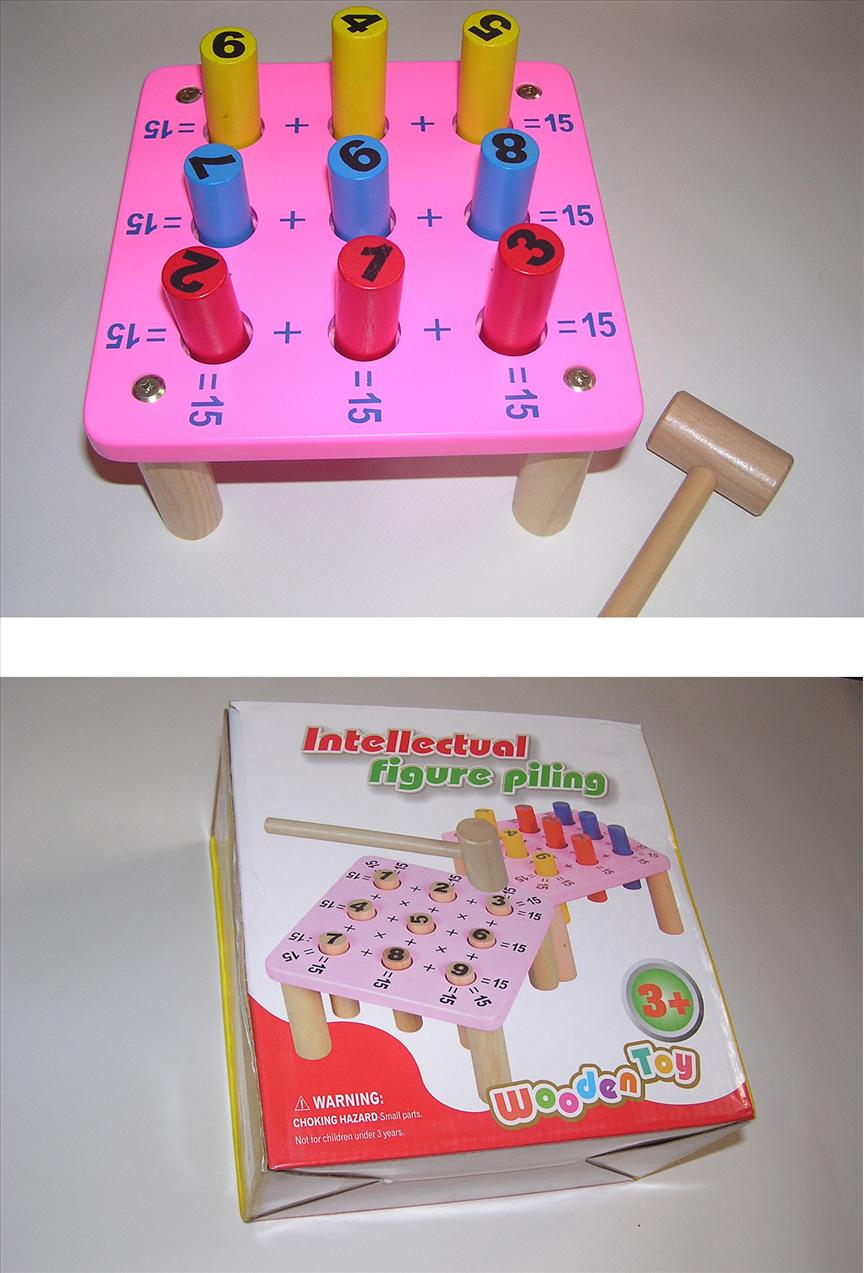 Colorful Intellectural Figure Piling Educational Wooden Math Toy
