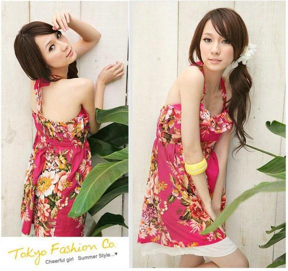 Comax Store*Charming Summer Floral Paint Halter Dress [K7589]