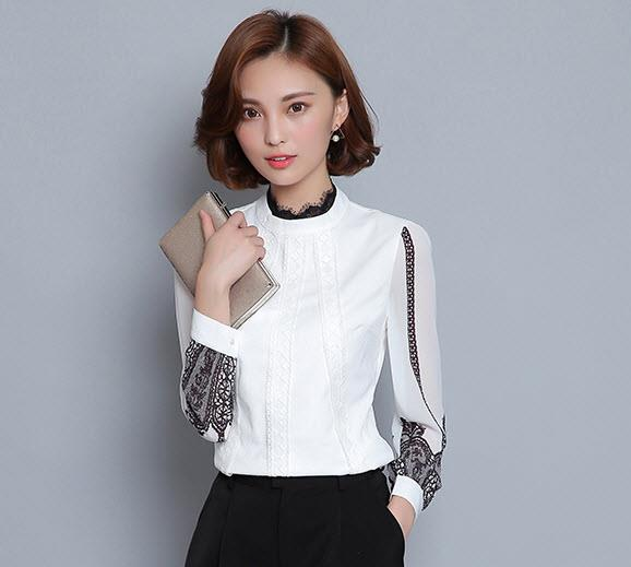 Contrast Lace Blouse High-Neck Long Sleeve Women's Clothing