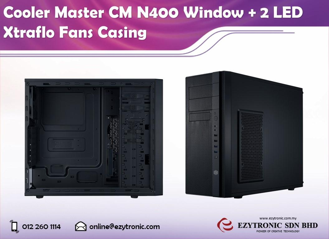 Cooler Master CM N400 Window + 2 LED Xtraflo Fans Casing