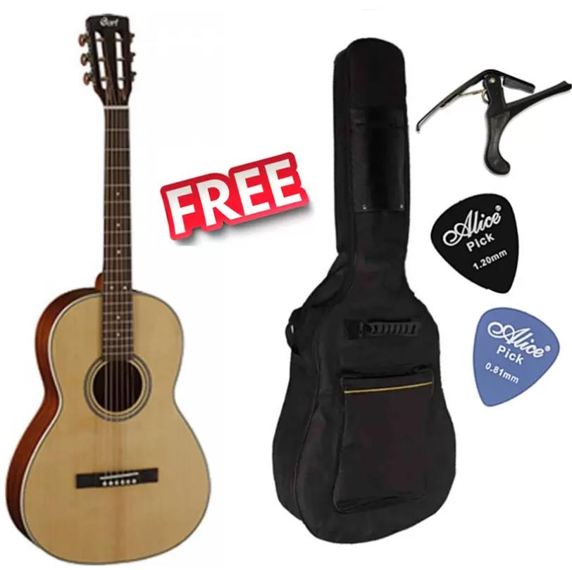 Cort Korea L100P Parlor body Solid Top Acoustic Guitar Free Bag, Capo