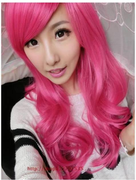 Cosplay pink long curve wig/ready stock/ rambut palsu