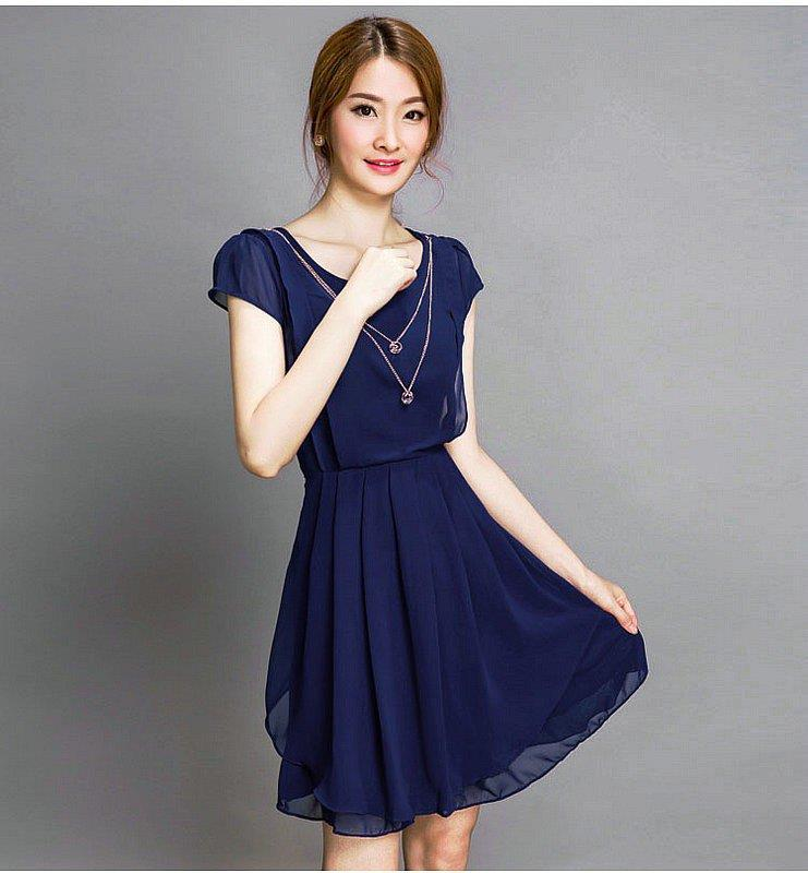 Cotton Linen Round Neck Chiffon Midi Dress (iKR048105)