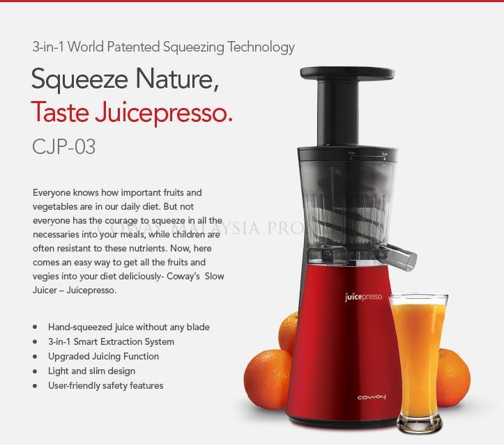 Coway Slow Juicer Review : COWAY Juicepresso CJP-03 (end 11/24/2016 4:15 PM)