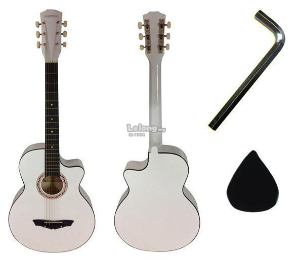 Cowboy Acoustic Guitar 38 Inch (White)