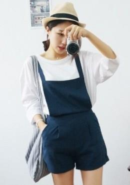 Cropped Sleeves T and Overall Shorts Set Wear (iKR053773)