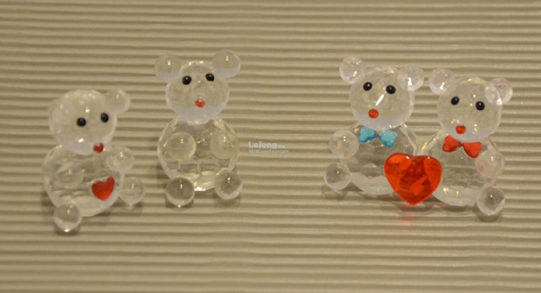 Crystal Art Glass Lovely Teddy Family Set Decoration Gift Window