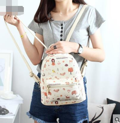 Cute cartoon printed shoulder bag female backpack