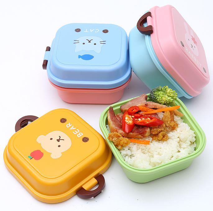 Cute Cartoon Square Double Layer Mini Lunch Box