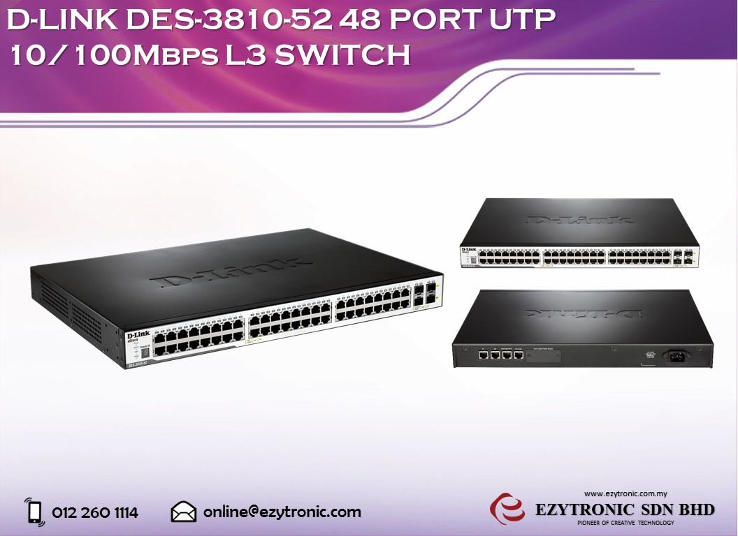 D-LINK DES-3810-52 48 Port UTP 10/100Mbps L3 Switch