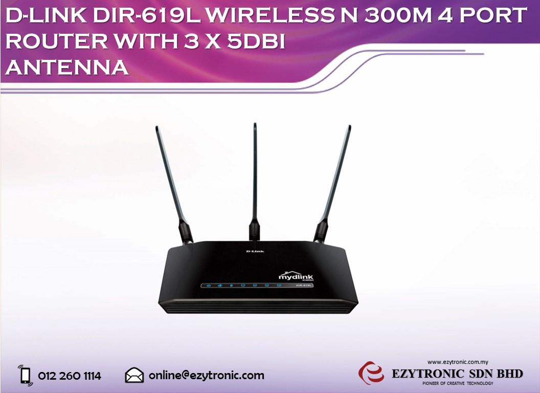 D-LINK DIR-619L Wireless N 300M 4 Port Router With 3 X 5dbi Antenna