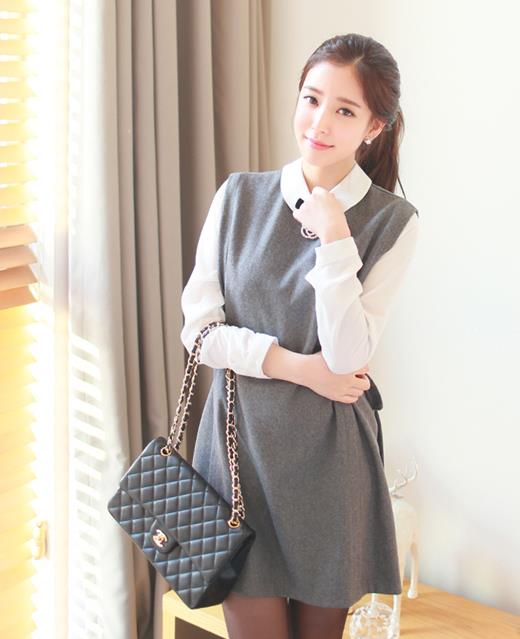 D7289 Fashion Once Piece Dress Grey