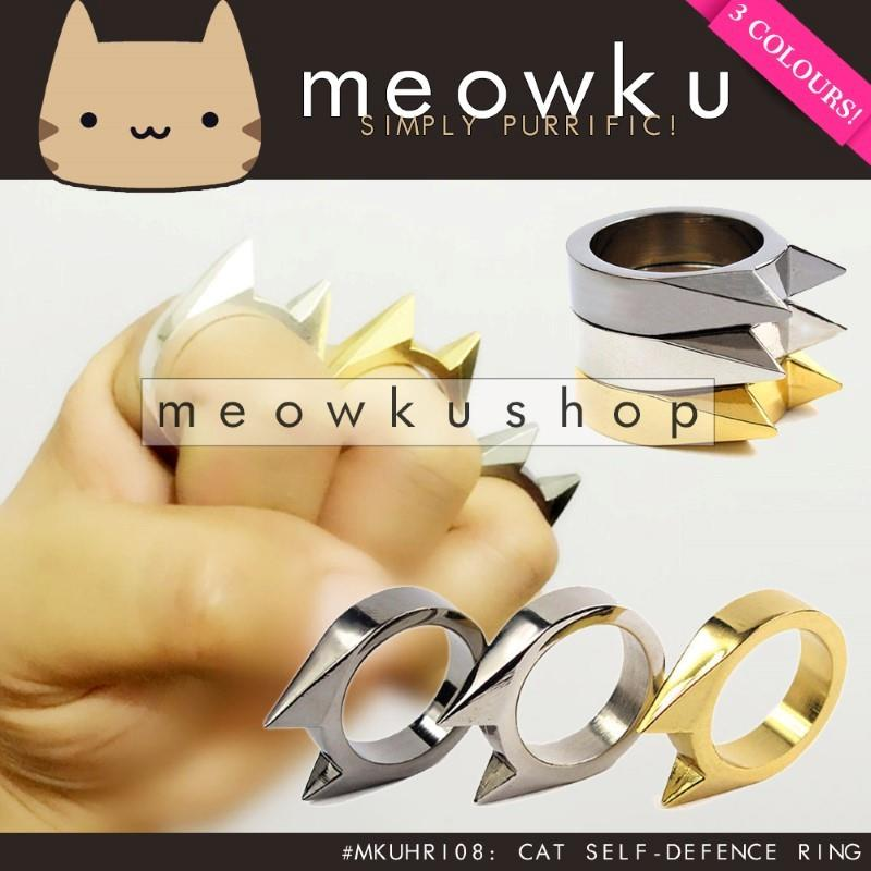 Defensive Cat Ring (Solid Metal Safety Defense Self Kucing Jewellery)