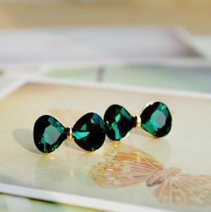 Delicate Sea Green Ribbon Crystal Earrings