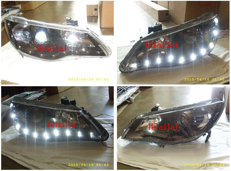 DEPO Honda Civic FD '06 LED DRL R8 Projector Head Lamp [Black]