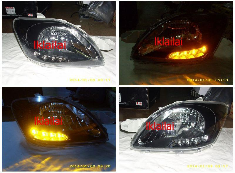 DEPO Toyota Vios '07 Crystal Head Lamp + LED Signal [Black]